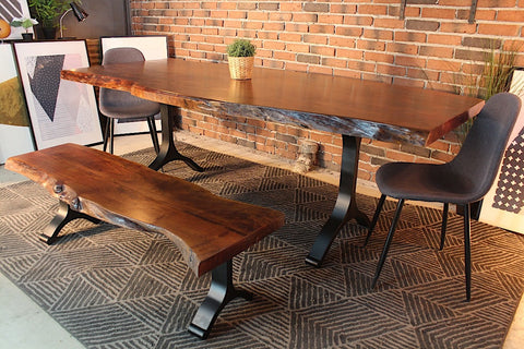 Acacia Live Edge Dining Table With Black Y Shaped Legs/Honey Walnut   Wazo  Furniture