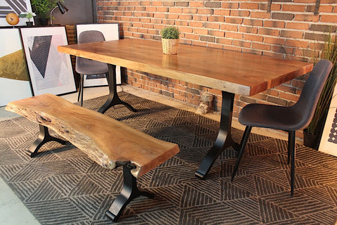 Acacia Straight Cut Dining Table With Black Y Shaped Legs/Natural Color - Wazo Furniture