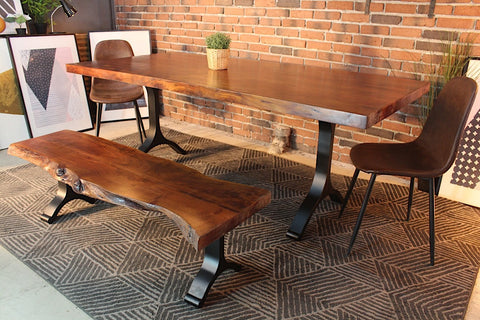 Acacia Straight Cut Dining Table With Black Y Shaped Legs/Honey Walnut - Wazo Furniture