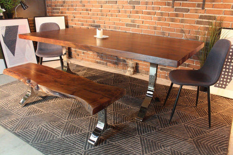 Acacia Straight Cut Dining Table with Chrome Y Shaped Legs/Honey Walnut - Wazo Furniture