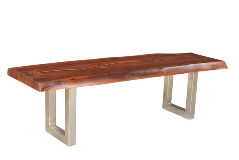 Acacia Walnut Wood Bench with Stainless Steel Legs