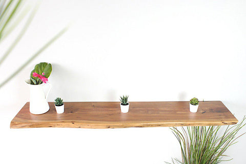 LONDON - Live Edge Acacia Floating Shelf (Natural, Matte) - Wazo Furniture