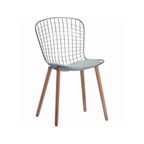 Bertoia Style Chrome Chair - Wooden Legs
