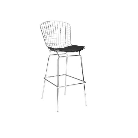 Bertoia Style Chrome Bar Stool with Seat Pad