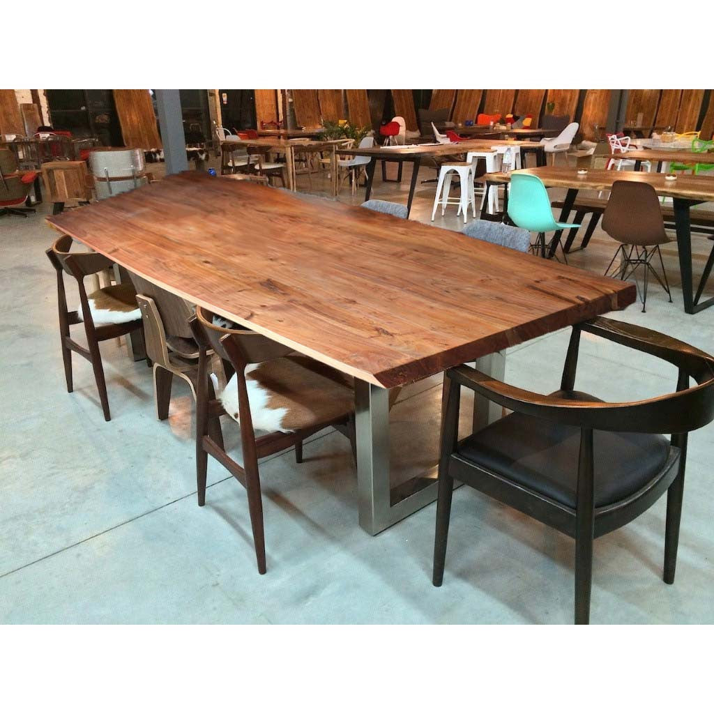 Bow Table Of Acacia Wood With Heavy Duty Chrome Square Legs   Wazo Furniture