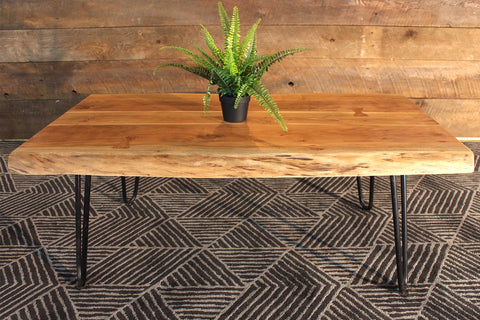 Acacia Live Edge Coffee Table With Hairpin Legs Natural Color