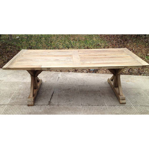 Collin Salvaged Farmhouse Rectangular Wooden Table With X Legs