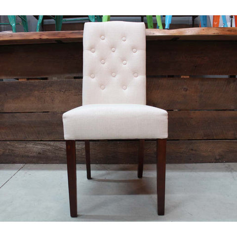 Bellport Fabric Button Side Chair - Cream
