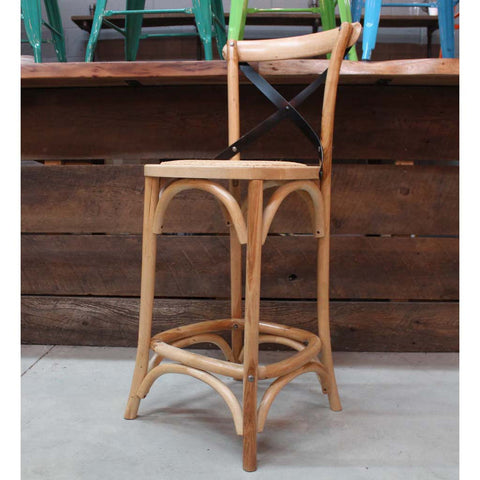 Oak Wood Bar Stool with Metal Cross Back