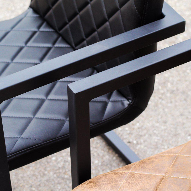 NORA - Black Leather Dining Chair - Wazo Furniture