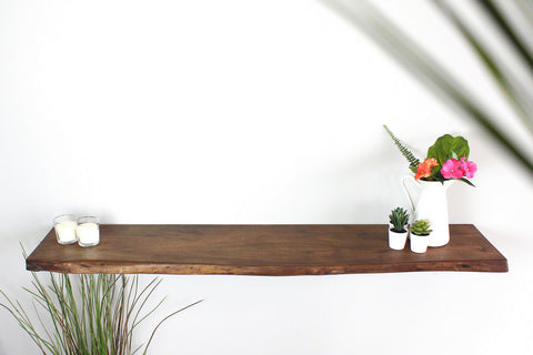 London-Acacia Live Edge Book Shelf (Matte Brown) - Wazo Furniture