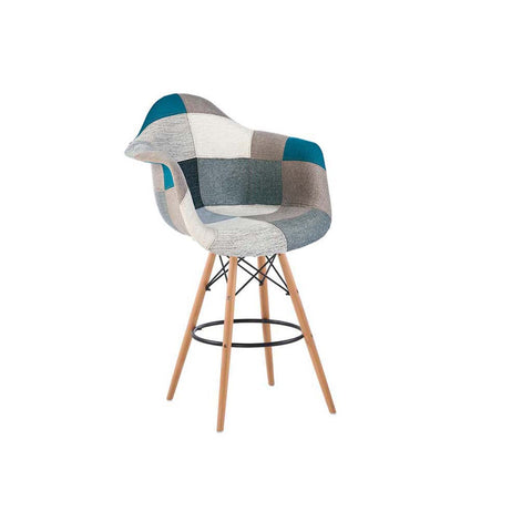 Eames Style Blue Monochrome Armchair Bar Stool