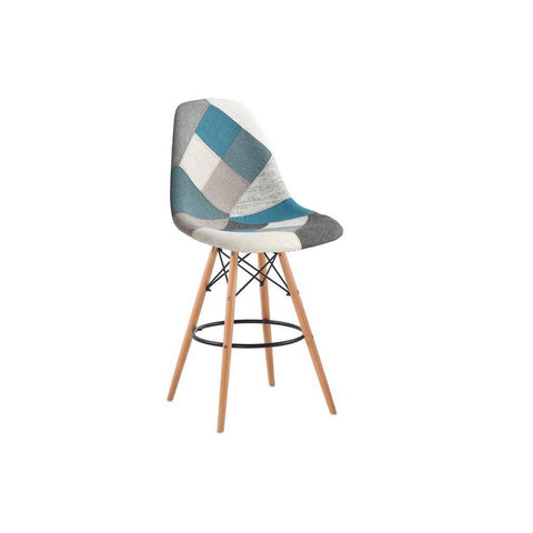 Eames Style Blue Monochrome Patchwork Bar Stool