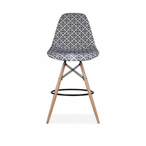 Eames Style Diamond Monochrome Fabric Bar Stool