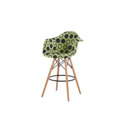 Eames Style Green Polkadot Armchair Bar Stool
