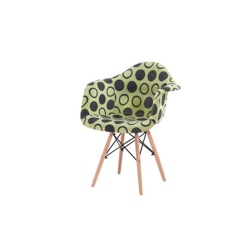 Eames Style Green Polkadot Fabric Armchair