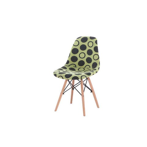 Eames Style Green Polkadot Fabric Side Chair