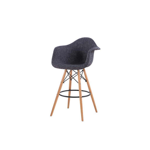 Eames Style Peppered Grey Armchair Bar Stool