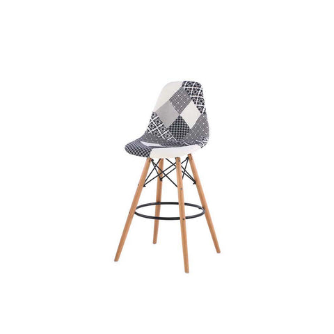 Eames Style Jessie Black and White Patchwork Bar Stool