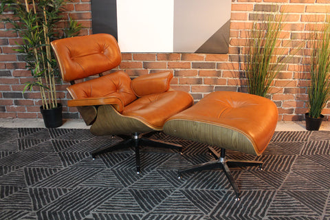 Eames Molded Lounge Chair and Ottoman - Light Brown - Wazo Furniture