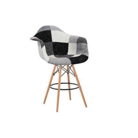 Eames Style Greyscale Patchwork Armchair Bar Stool