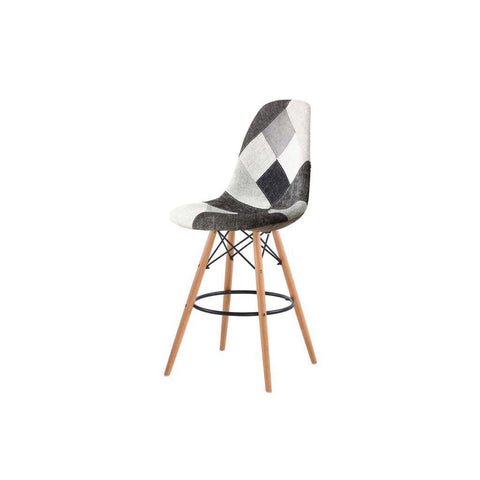 Eames Greyscale Checkered Patchwork Bar Stool