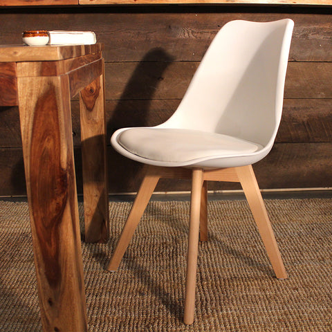 Eames Style Oak Chair with PU Leather - Wazo Furniture