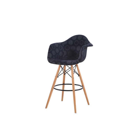 Eames Style Black Polkadot Armchair Bar Stool
