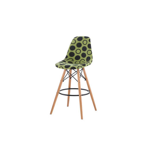 Eames Style Green Polkadot Fabric Bar Stool