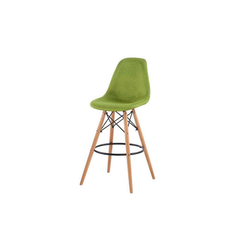 Eames Style Green Fabric Bar Stool