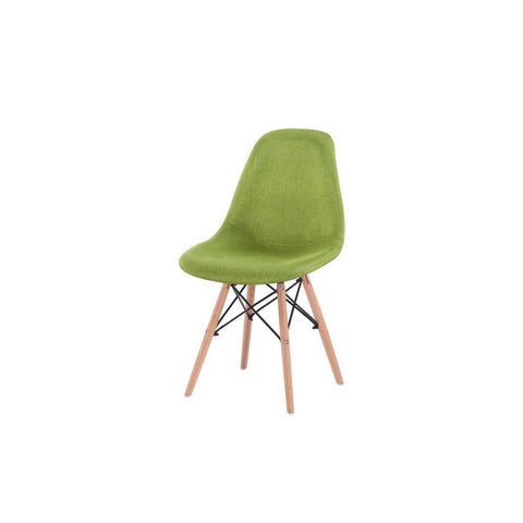 Eames Style Green Fabric Side Chair