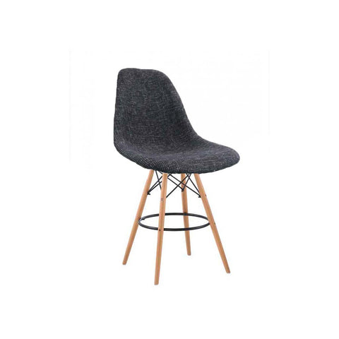 Eames Style Peppered Grey Fabric Bar Stool