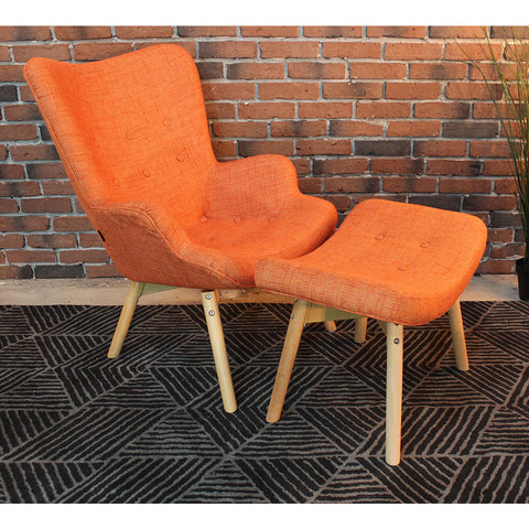 Featherston Style Contour Lounge Chair & Ottoman-Orange - Wazo Furniture