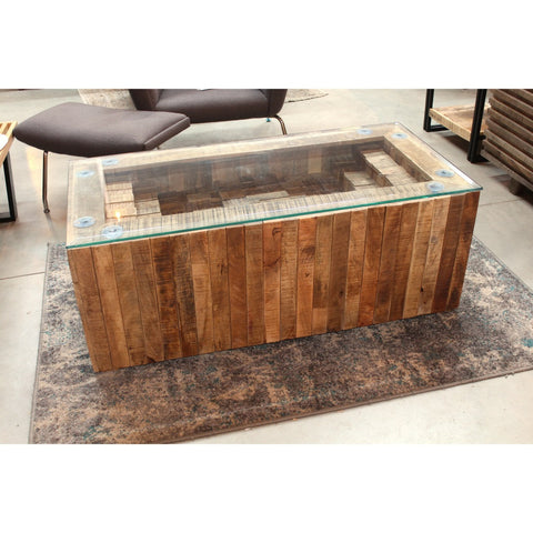 Glass Top Coffee Table with Rectangular Box Base