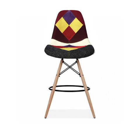 Eames Style Harlequin Patchwork Bar Stool