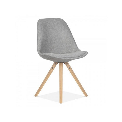 Eames Style Oak Pyramid Chair Grey Fabric