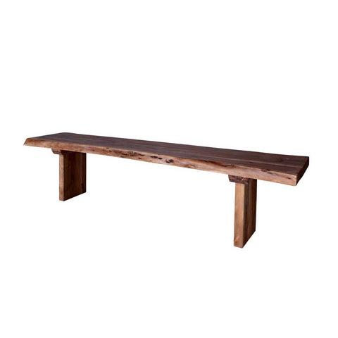 Acacia Live Edge Bench with Wooden Plank Legs