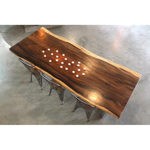 Ava Live Edge Suar Table with X Shaped Legs
