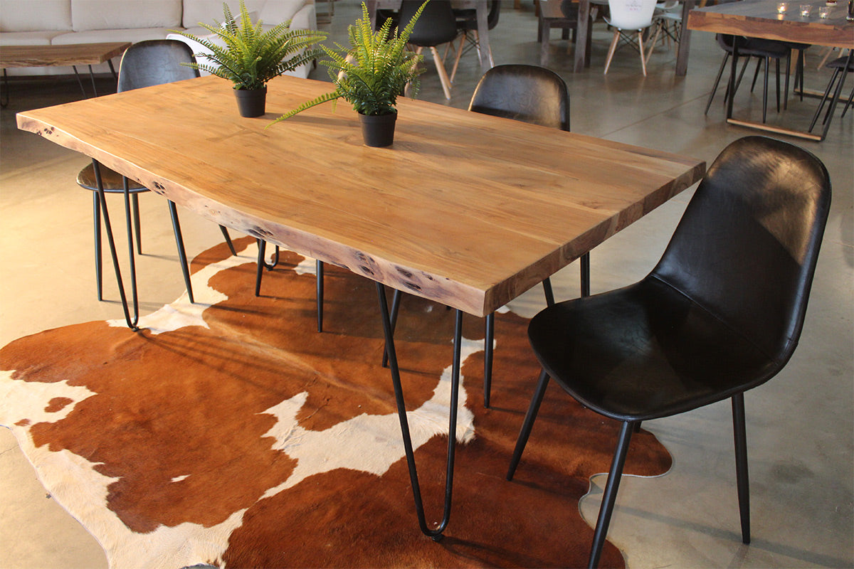Live Edge Acacia Natural Wood Table With Hairpin Legs