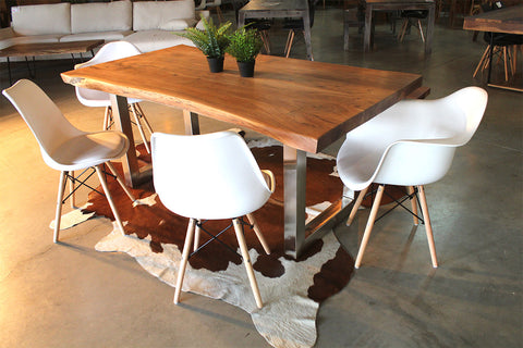 Acacia Natural Wood Live Edge Table - Stainless Steel Square Legs/Natural Color - Wazo Furniture