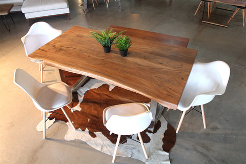 Acacia Natural Wood Live Edge Table - Stainless Steel Square Legs