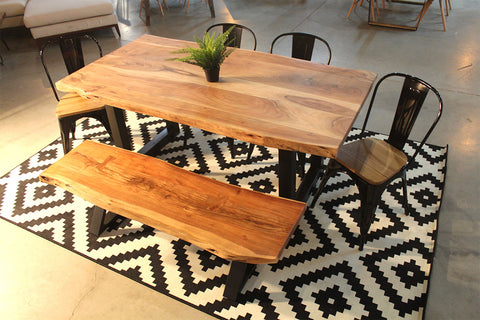 Acacia Live Edge Wood Table with Black Square Legs Thick