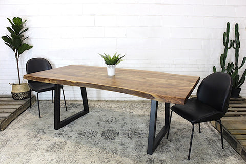 Live Edge Acacia Natural Wood Table with Black Trapezoid Legs/Natural - Wazo Furniture