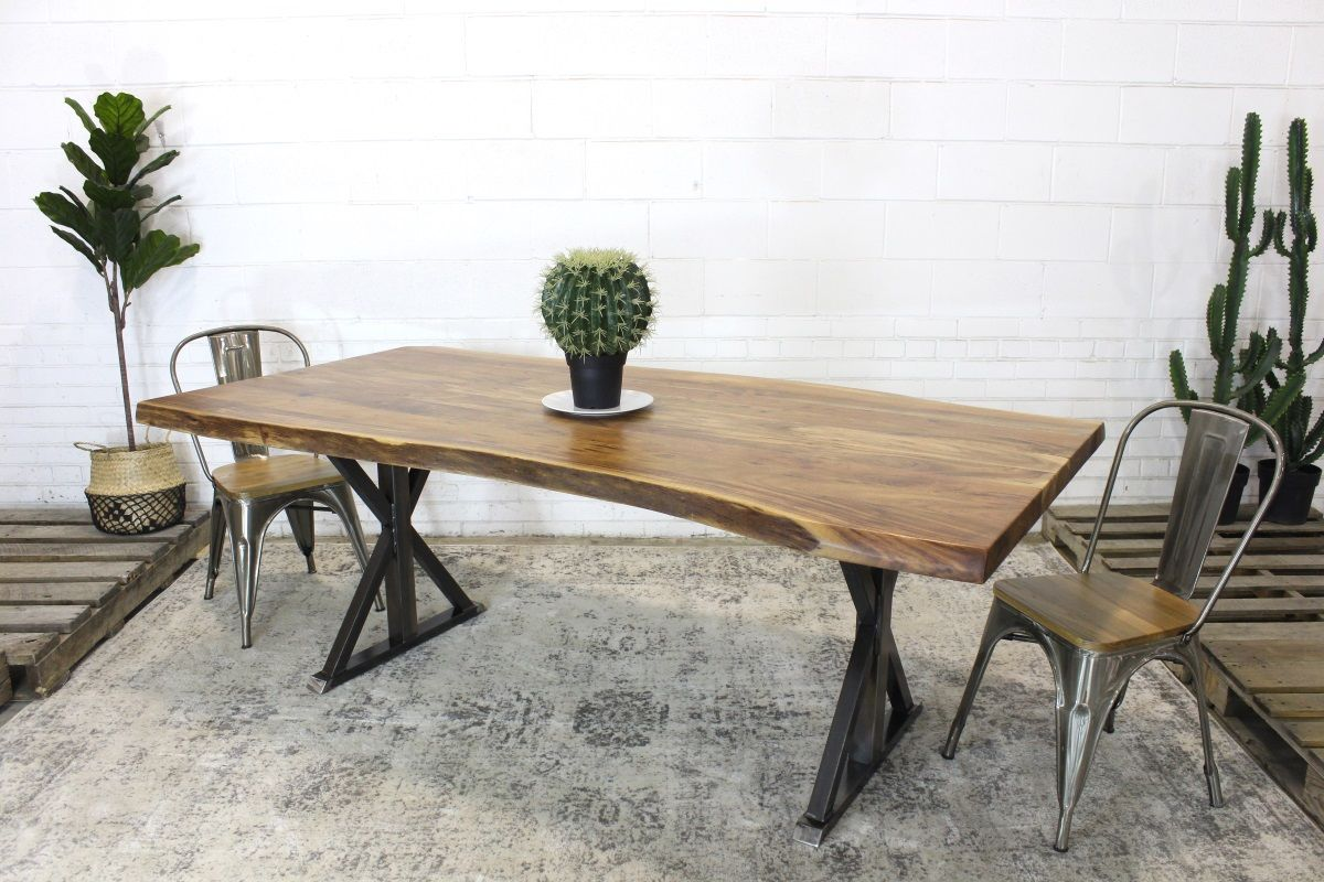 Live edge acacia natural wood table with farmhouse brushed metal legs natural wazo furniture