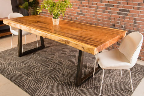 Live Edge Suar Table with Brushed Trapezoid Legs/Natural Finish - Wazo Furniture