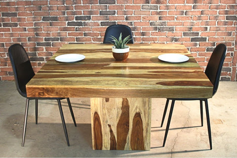 Miranda - Square Rosewood Farmhouse Table/Natural Finish - Wazo Furniture