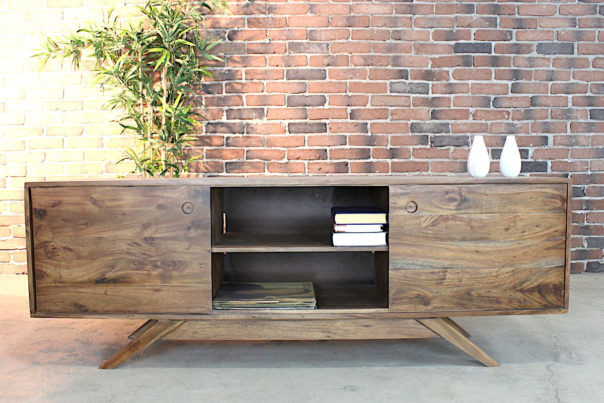 CLEVELAND Mid Century Rustic Modern TV Unit   Wazo Furniture
