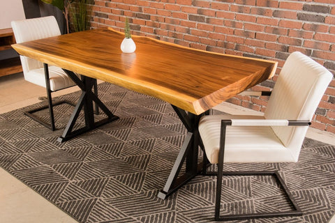 Live Edge Suar Table with Black Farmhouse Legs/Natural Finish - Wazo Furniture