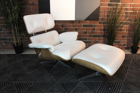 Eames Molded Lounge Chair and Ottoman - White - Wazo Furniture