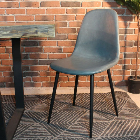 MILAN-Eames Style Grey Vintage Leather Dining Chair with Black Metal Legs - Wazo Furniture